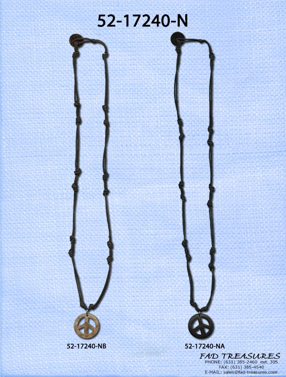 Small Peace Sign Necklace Knotted Cord Necklace