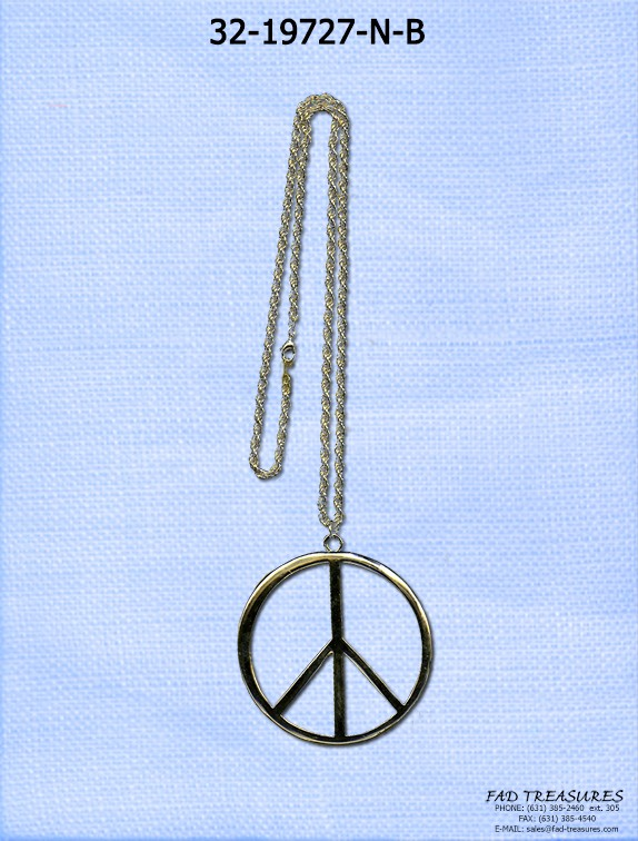 Gold X-Large Peace Sign Necklace