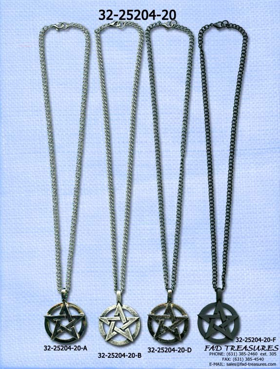 Assorted Chain With Pentagram Pendant Necklace