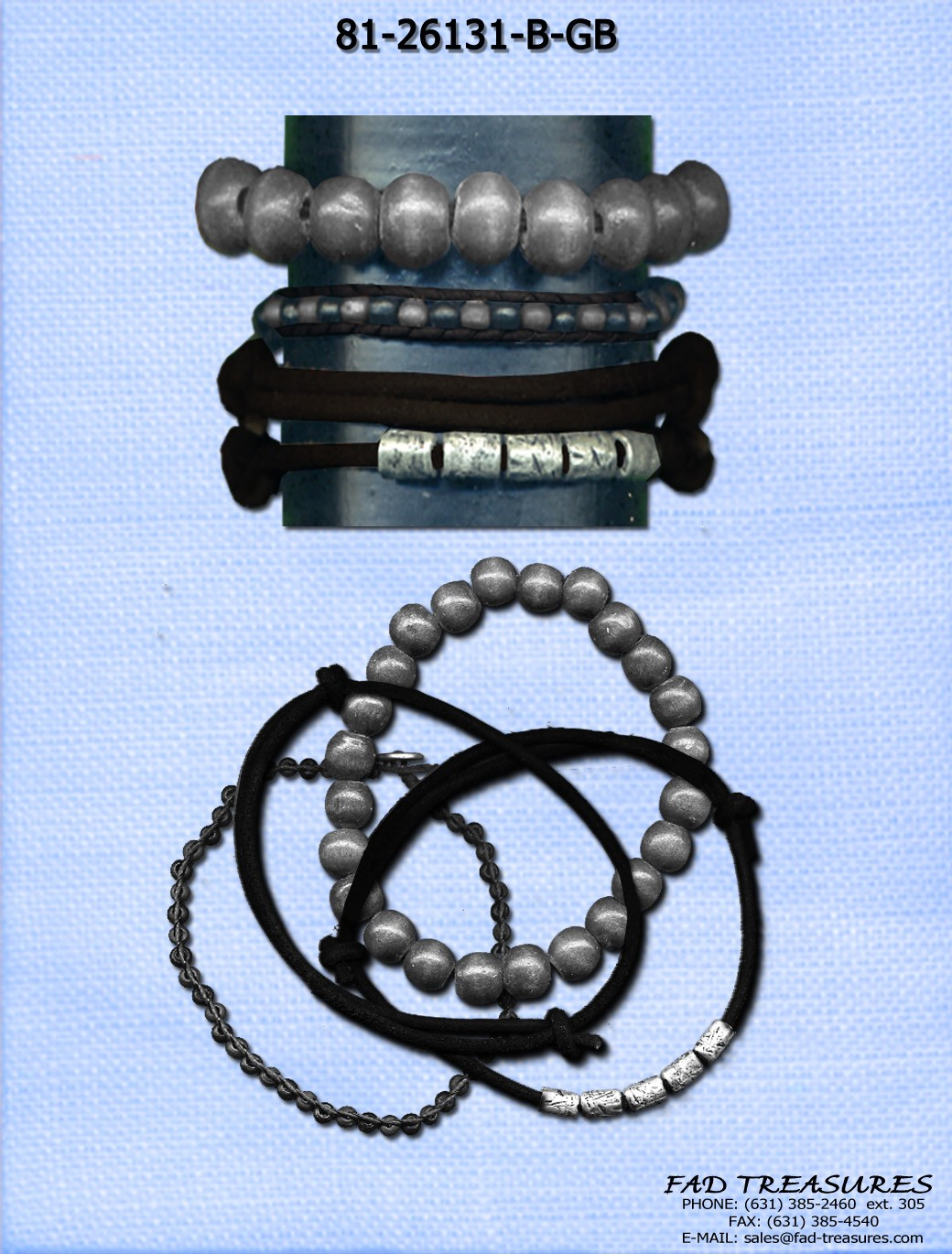 Assorted Leather Metal Beads & Rope Bracelet Set