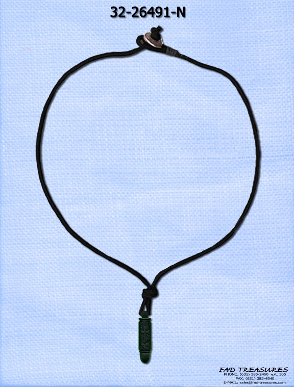 Black Leather Cord & Bullet Necklace
