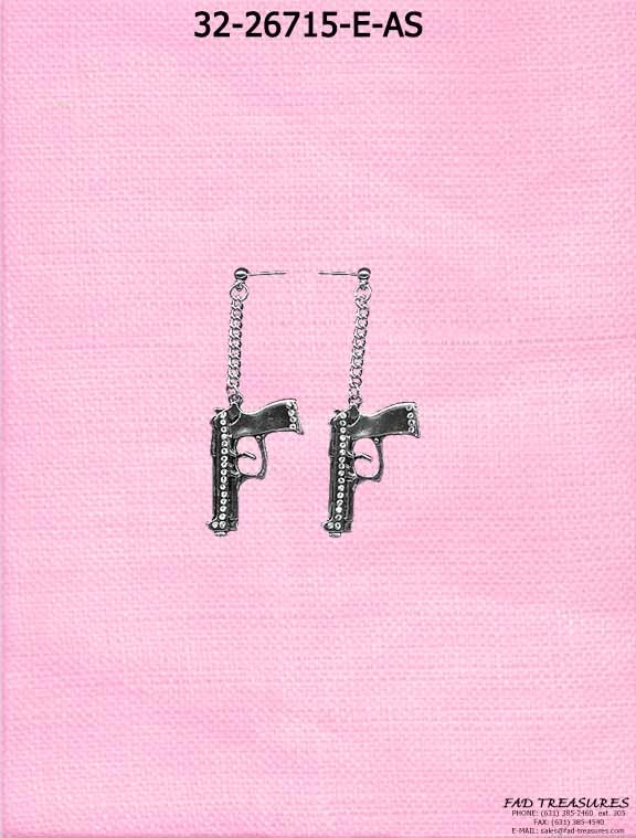 Dangle Gun Clear Rhinestones Earrings