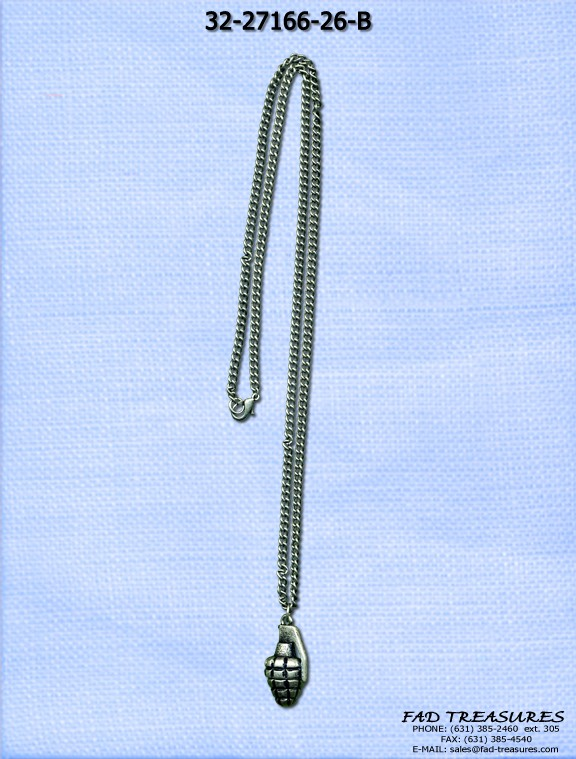 Burnish Silver Curb Chain Grenade Necklace