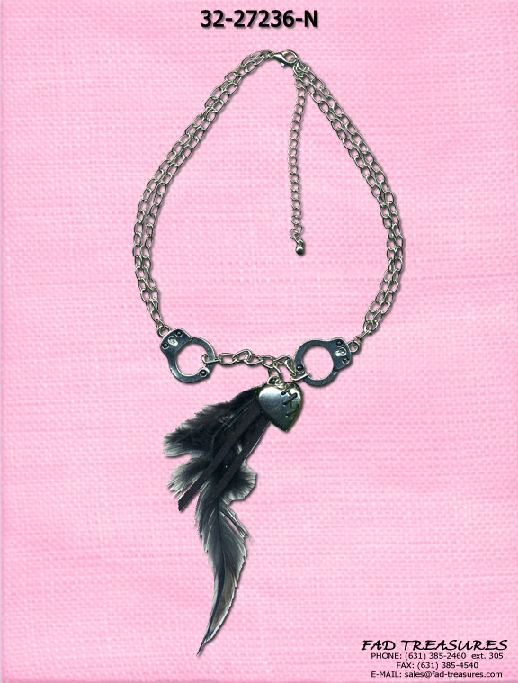 Double Chain Handcuffs Heart Feather Necklace