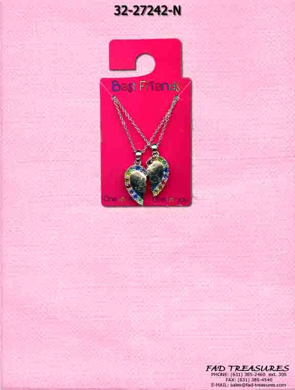 Best Friend Split Heart With Stones Necklace