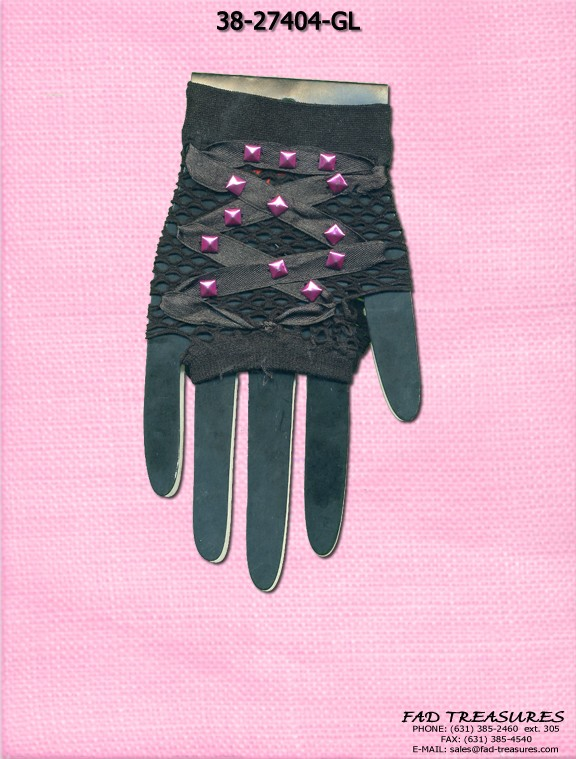 Pink Studs Mesh Ribbon Gloves