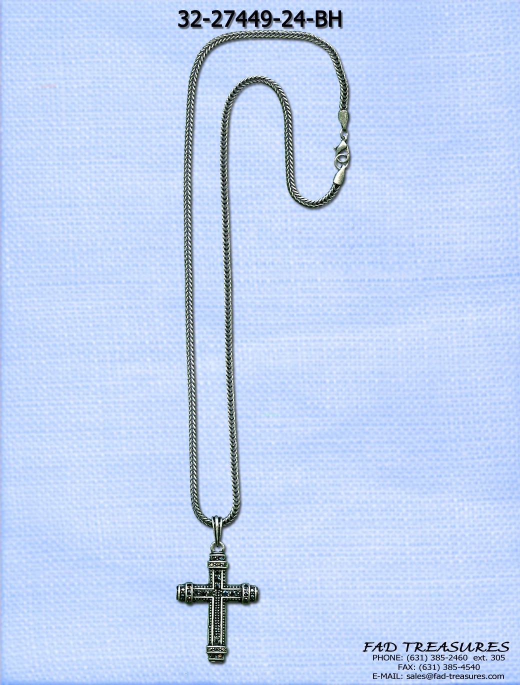 Snake Chain Hematite Cross With Stones Necklace