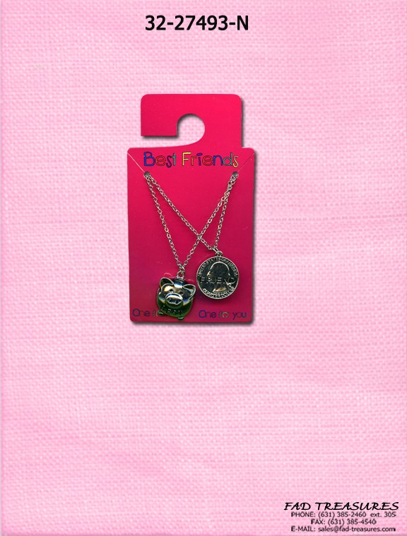 Piggy Bank & Coin Best Friend Necklace