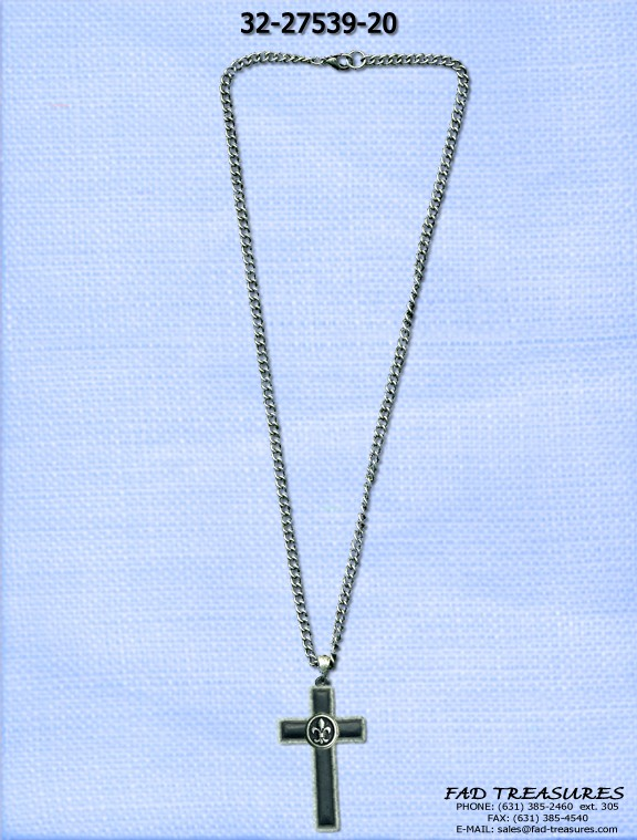 Fleur De Lis On Cross Necklace