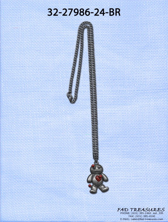 Curb Chain Red Doll With Pins Necklace