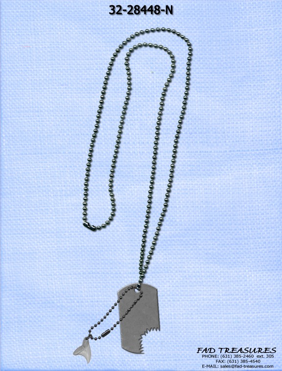 Shark Bite Dogtag & Tooth Necklace