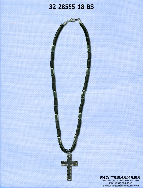 Industrial Tubes  & Braided Edge Cross Necklace