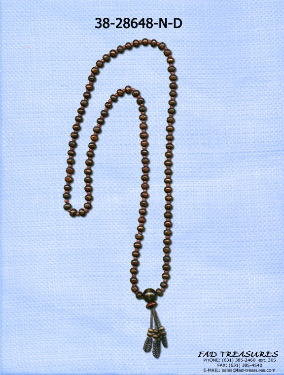 Long Brown Beads With Tassle Necklace