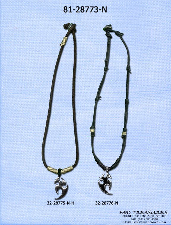 Leather Cord With Tribal Pendant Necklace