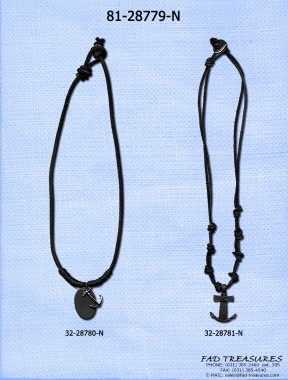 Leather With Anchor Pendant Necklace