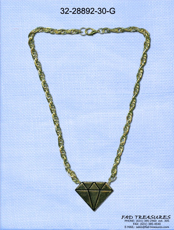 Rolled Chain Gold Diamond Necklace