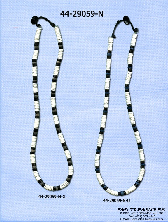 Black & White Shell & Color Bead Necklace