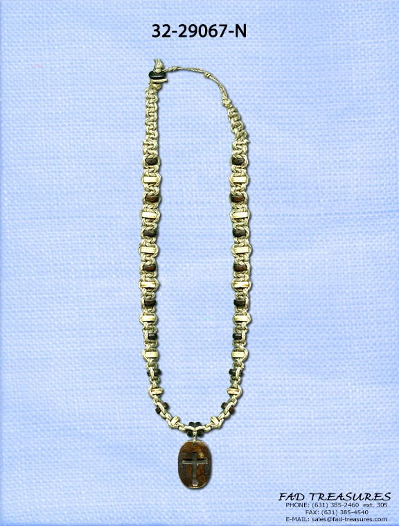 Embossed Cross Rope & Bead Necklace