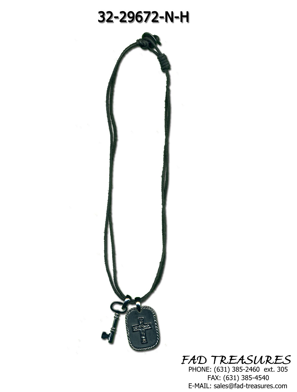 Black Leather With Hematite Inset Cross Dogtag Necklace