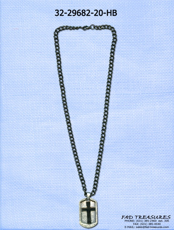 Double Dogtag Cross Chain Necklace