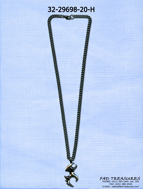Tribal Hematite Curb Chain Necklace