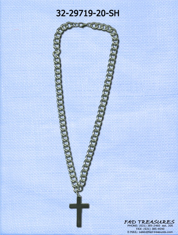 Curb Chain Hematite Cross Necklace