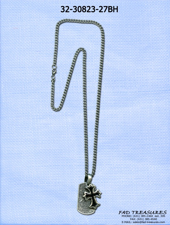 Chain Hematite Inner Cross & Dogtag Necklace