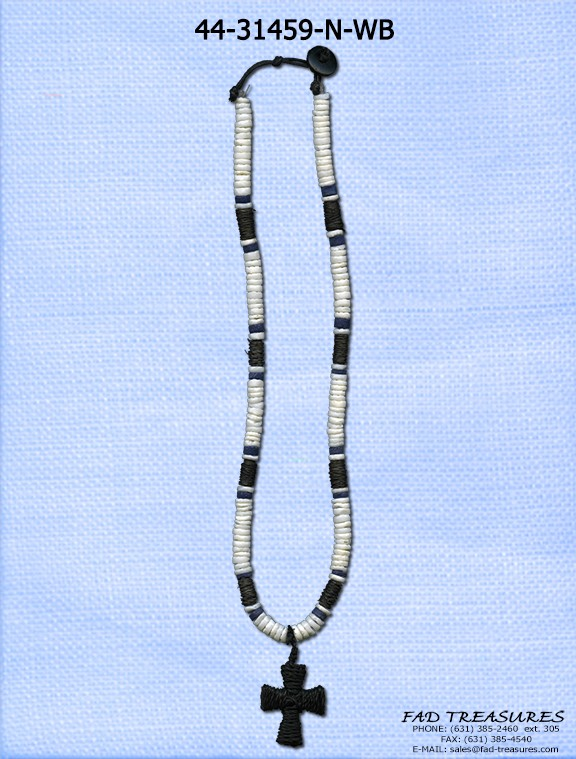 Shell Disks Rope Tube & Cross Necklace