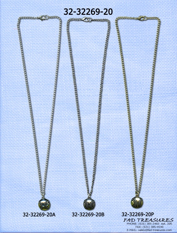 Assorted Chain With Baseball Necklace