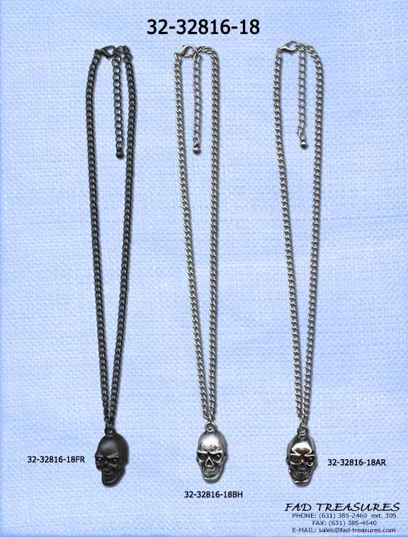Skull With Stone Eyes Necklace