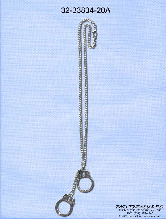 Antique Rhodium With Dangle Handcuffs Necklace