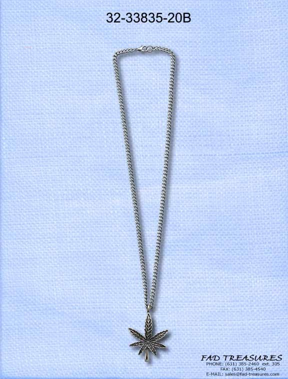 Burnish Silver Potleaf Charm Chain Necklace