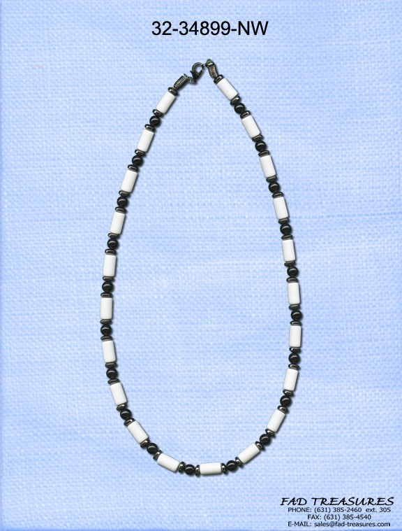 Bead Disk White Tube Necklace