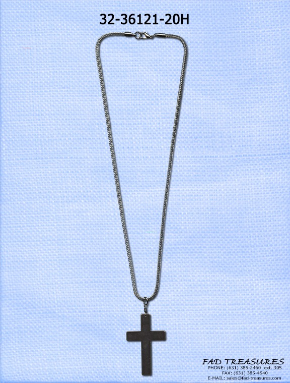 Hematite 20 Inch With Cross Necklace
