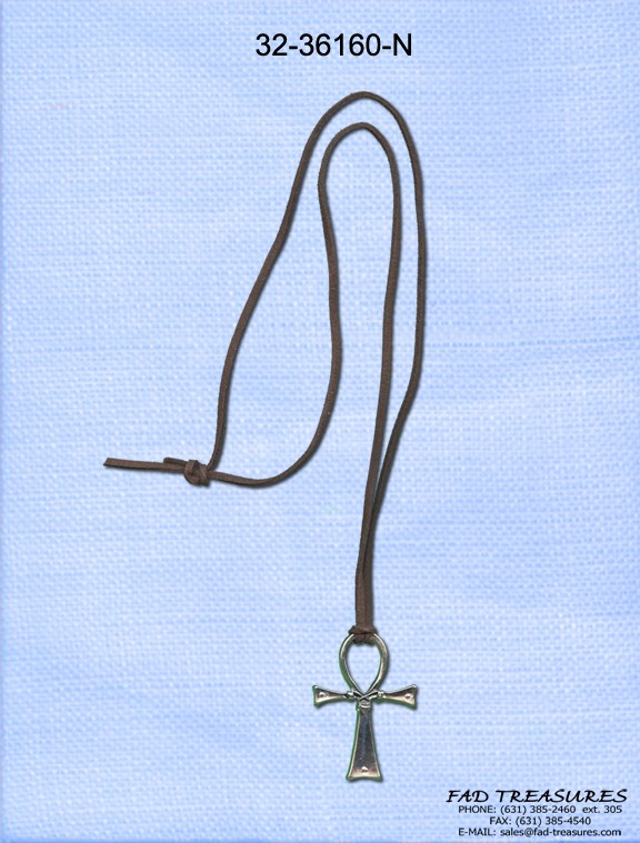 Dark Brown Leather With Silver Ankh Necklace