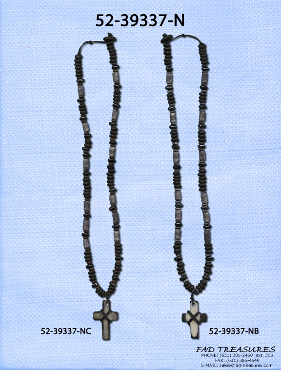 Grey Bone Tube With Brown Disks Adjustable Wrapped Cross Necklace