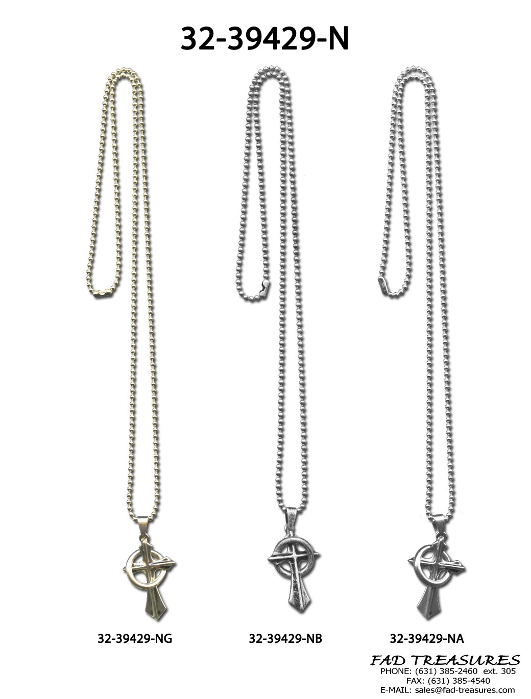 Assorted Ball Chain Cross And Ring Necklace