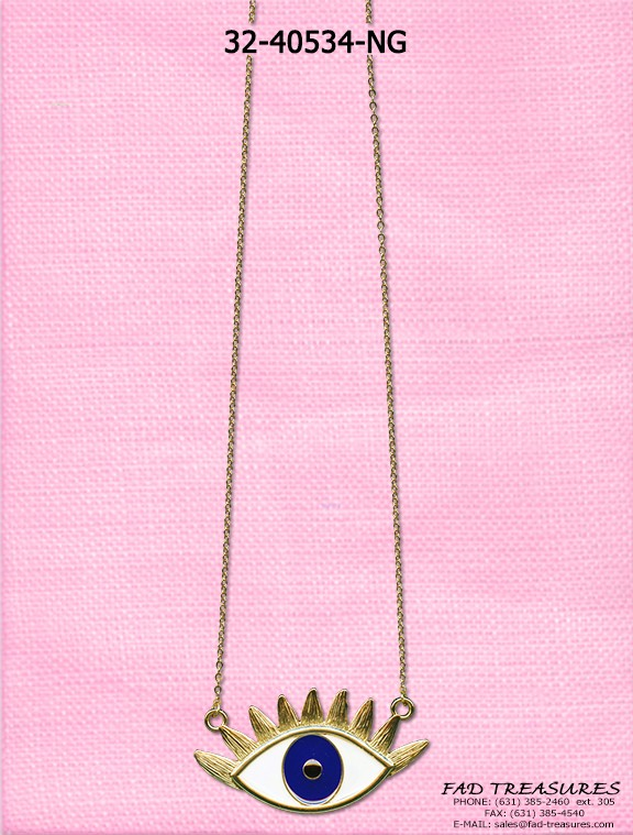 Gold Chain Large Seeing Eye Charm Necklace