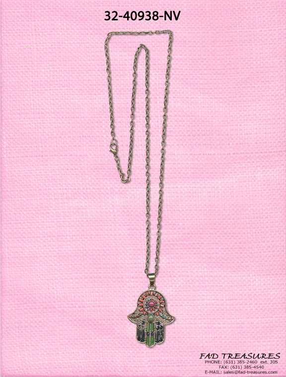 Antique Gold Chain Hamsa Multi Stone Necklace