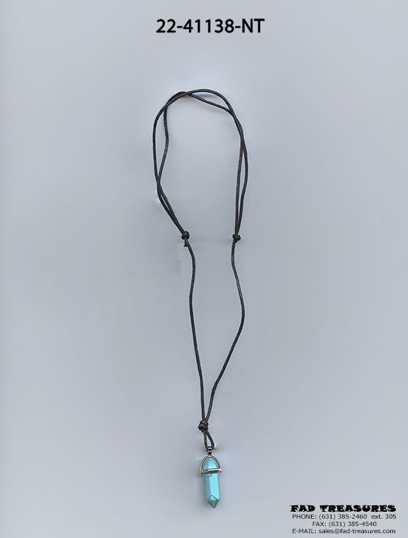 Turquoise Crystal Stone Leather Necklace