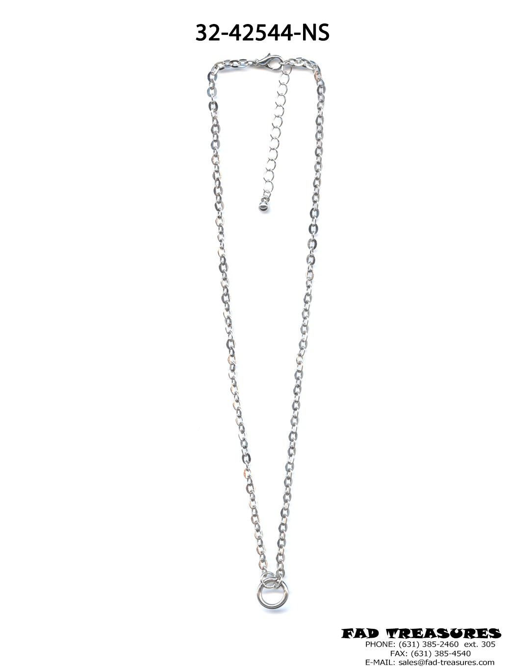 Small Silver O-RING Oval Chain Necklace