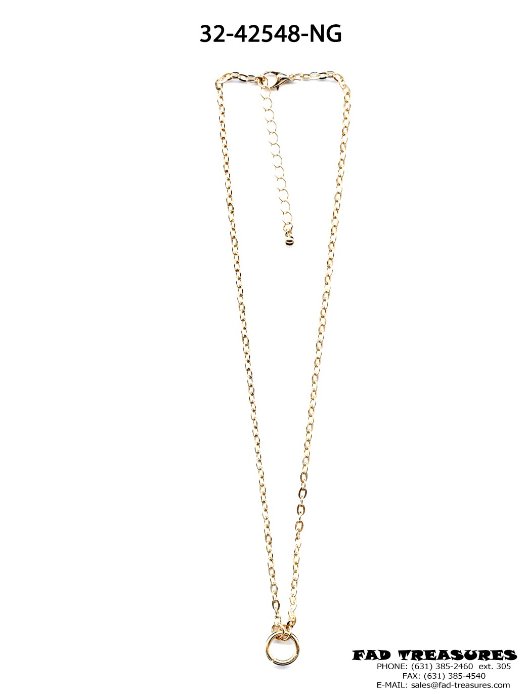 Small Gold O-RING Oval Chain Necklace