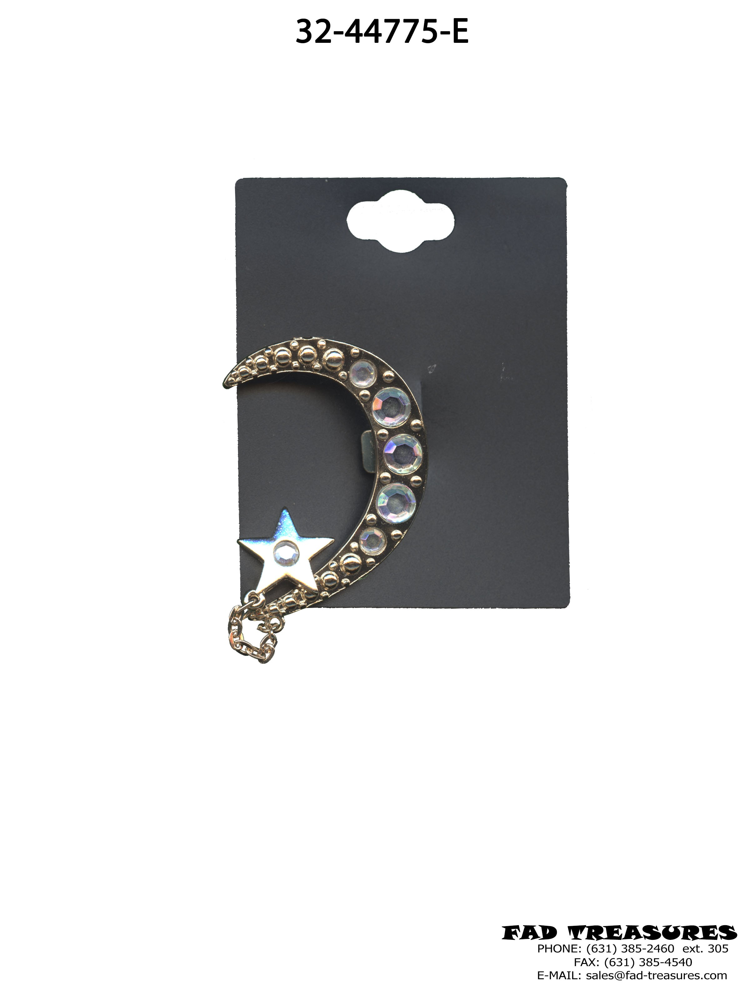 Silver With Clear Stones Moon & Star Ear Cuff
