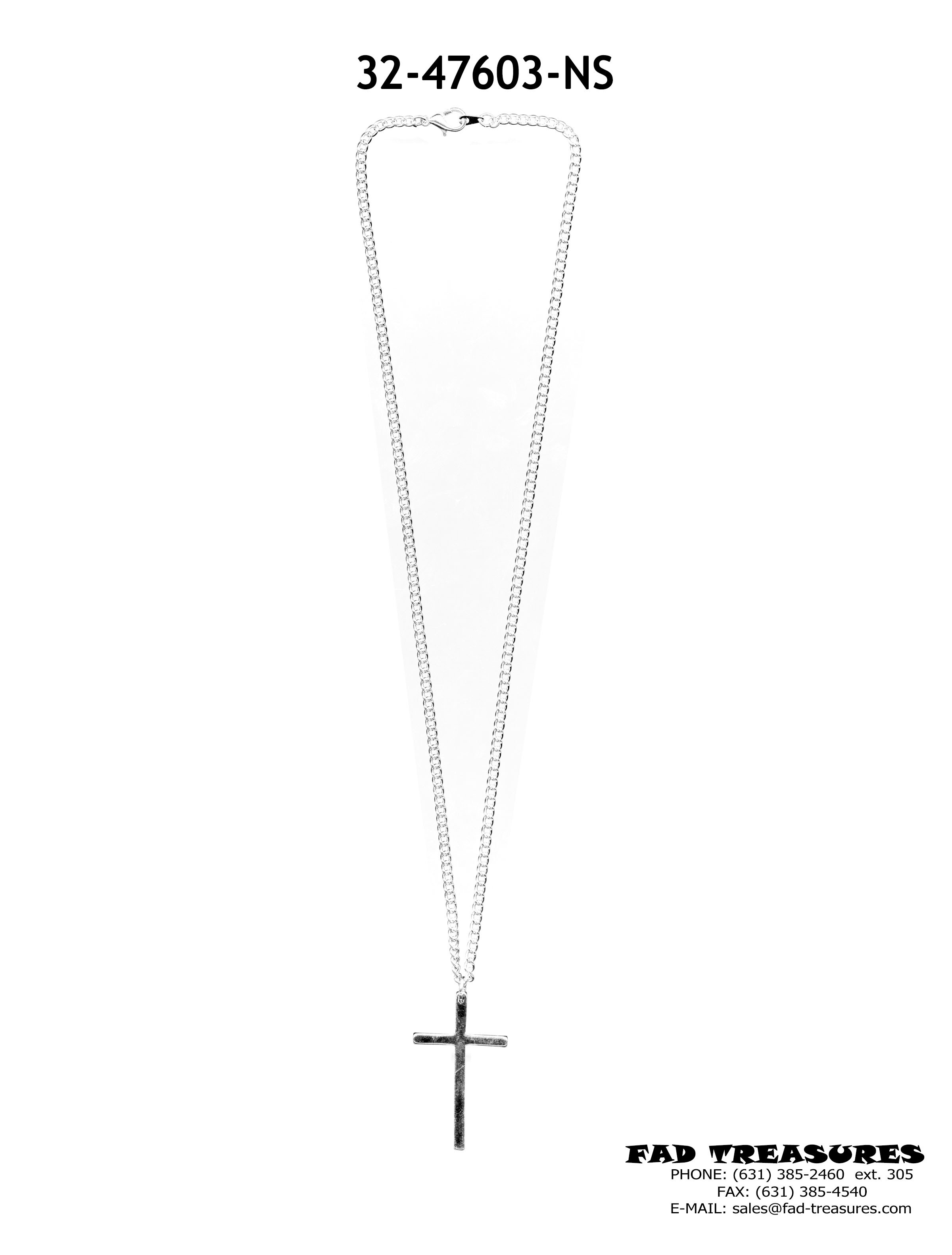 Silver Chain  With Flat Silver Cross Necklace