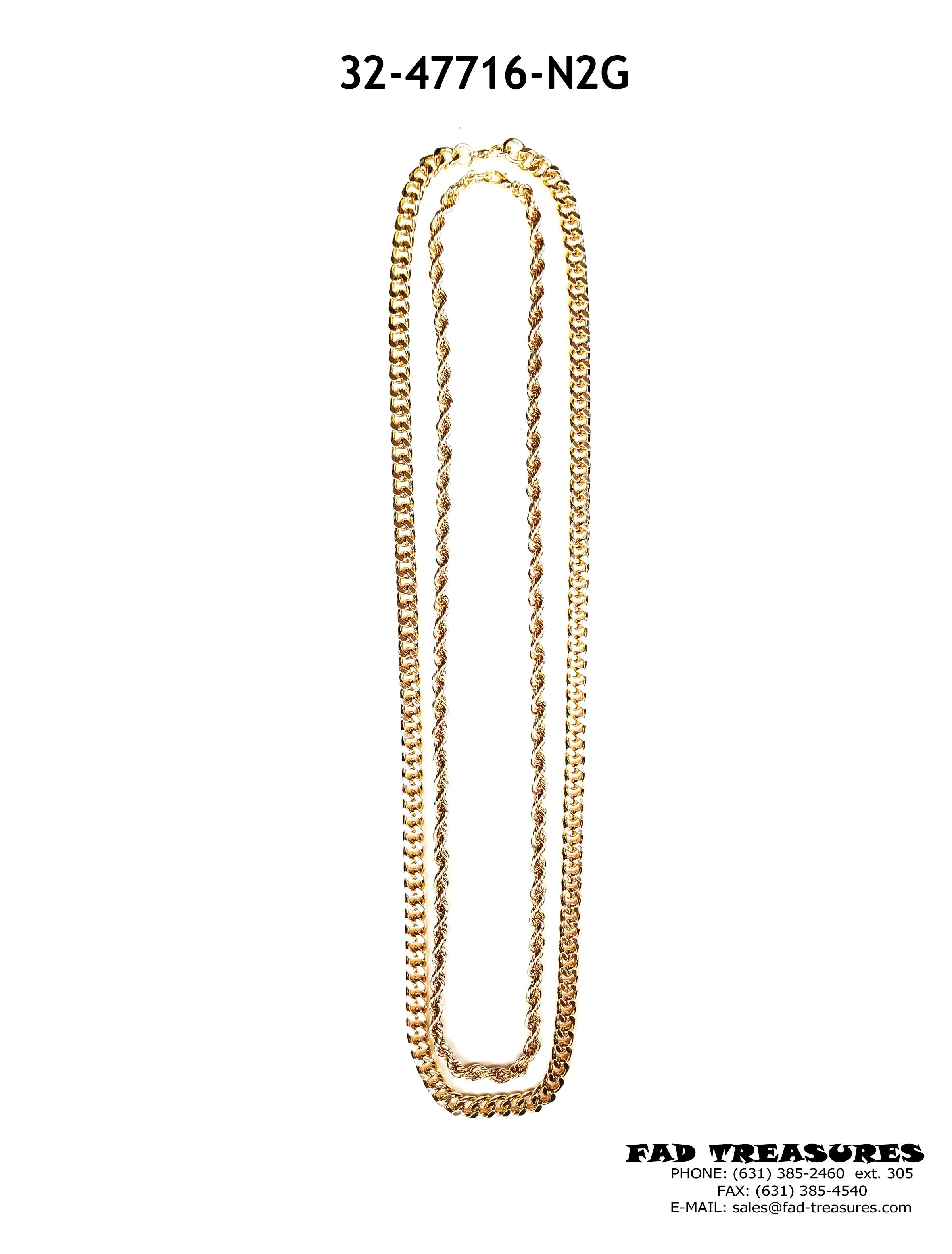 843b695fab63d Gold 2 Row Chain Necklace - Chains - Necklaces - Guys/Unisex