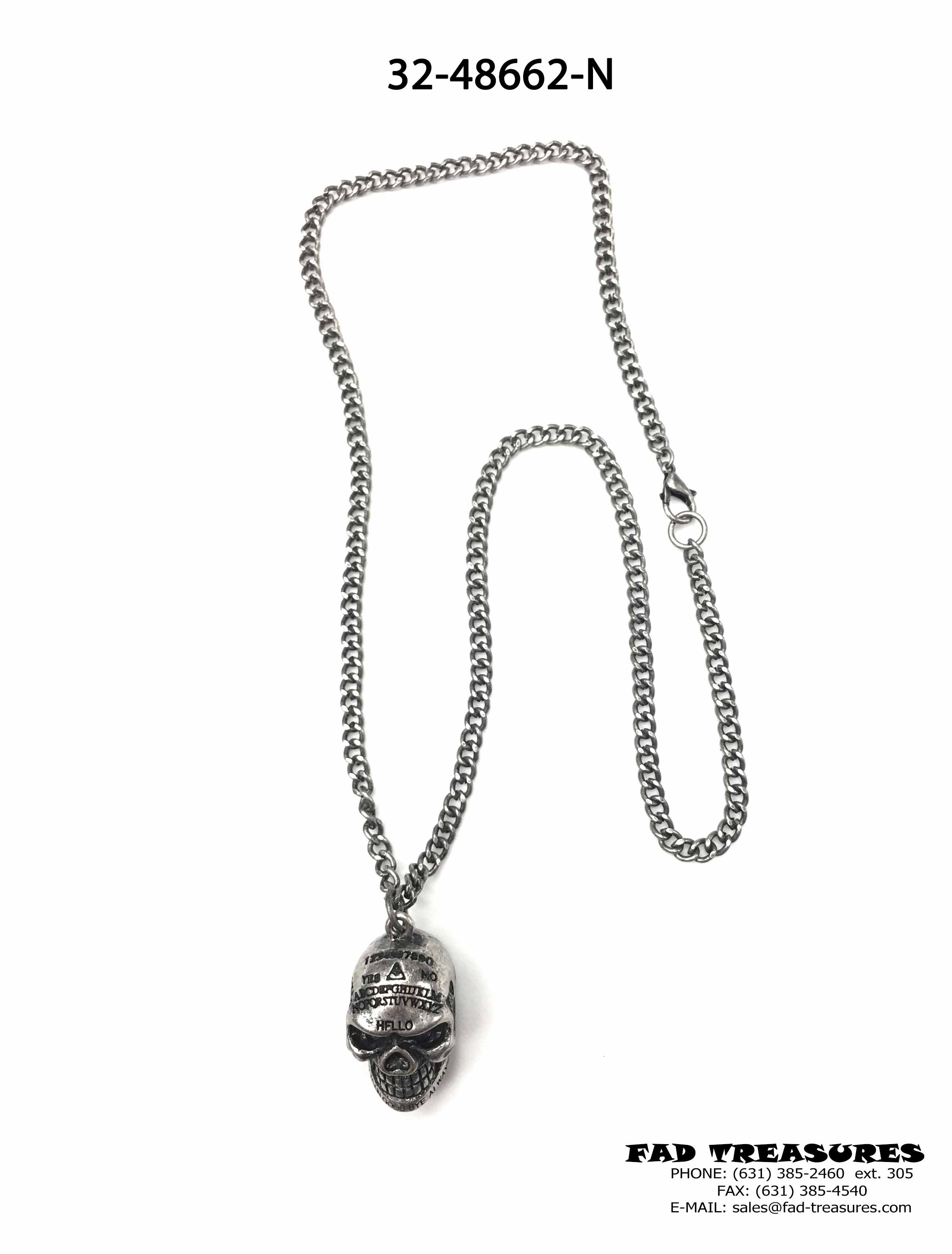 Burnish Silver Chain And Ouija Skull Head Necklace