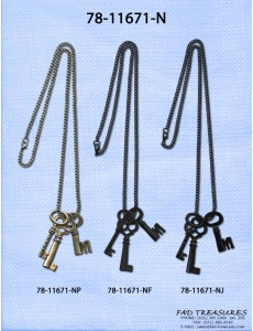 Assorted Chain With 3 Keys Necklace