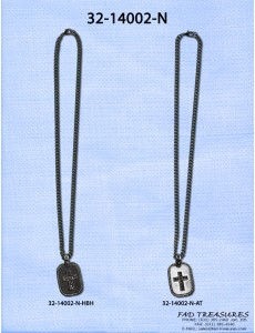 Cross With Stones On Tag Chain Necklace