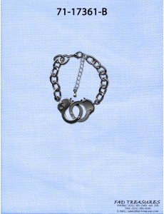 Silver Oval Chain With Working Hand Cuffs Bracelet