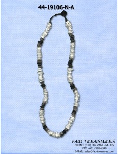White Shell Chips Black & Gray Mink Necklace